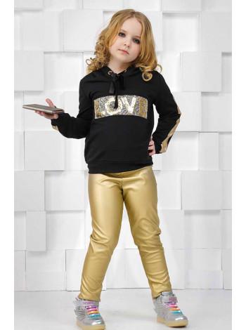 Модний костюм для дівчинки зі шкіряними легінсами