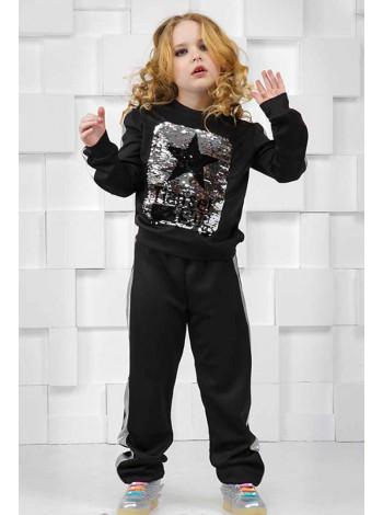 Спортивный костюм для девочки с кожаными вставками
