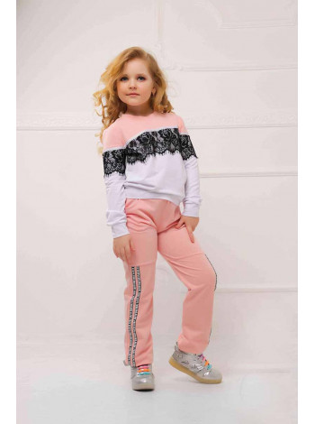 Детский модный спортивный костюм с кружевом