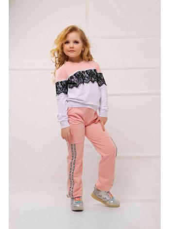 Дитячий модний спортивний костюм з мереживом