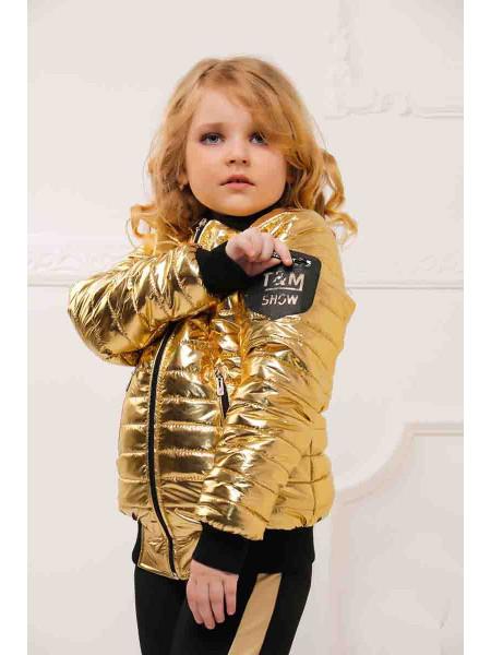 Детская куртка на девочку весна-осень металлик