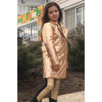 Детская куртка пальто металлик для девочки