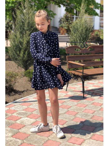 Красивое детское платье в горошек с рукавом