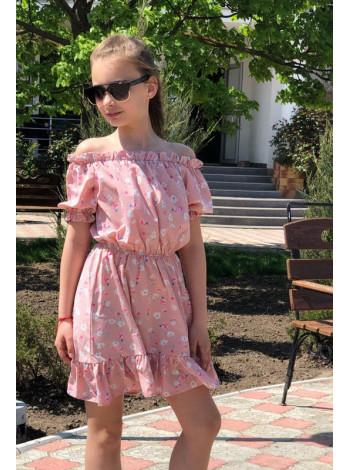 Літнє дитяче плаття з відкритими плечима