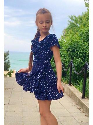 Дитяче літнє плаття на запах в горошок