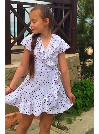 Детское летнее платье на запах в горошек