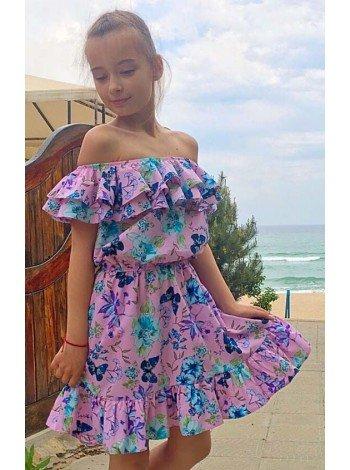 Дитяче плаття з відкритими плечима в квіточку