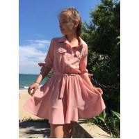 Летнее детское платье рубашка фасона солнцеклеш