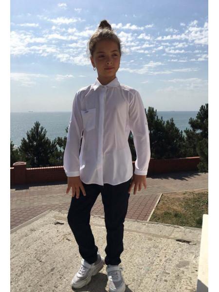 Шкільна блузка з довгим рукавом для дівчинки