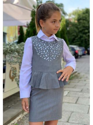 Шкільний сарафан з баскою для дівчинки