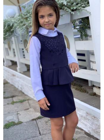 Школьный сарафан с баской для девочки
