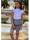 Белая блузка с коротким рукавом для девочки