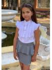 Біла блузка з коротким рукавом для дівчинки