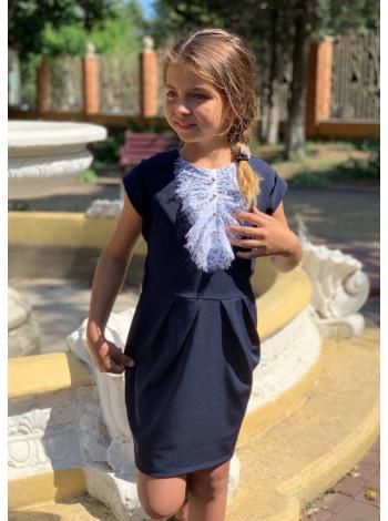 Школьное платье с коротким рукавом и жабо