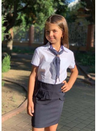 Біла блузка з краваткою для дівчинки