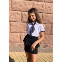 Белая блузка с галстуком для девочки