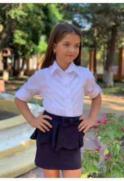Біла блузка з довгим рукавом для дівчинки