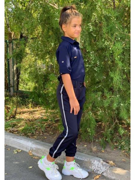 Дитячі штани з лампасами для дівчинки
