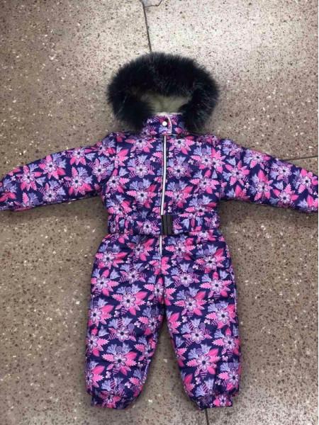 Дитячий зимовий комбінезон на хутрі в квіточку