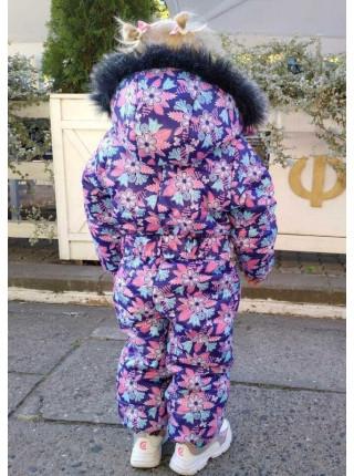 Дитячий зимовий комбінезон на флісі в квіточку