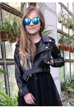 Детская кожаная куртка косуха для девочек
