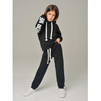 Дитячий теплий спортивний костюм із написом і капюшоном