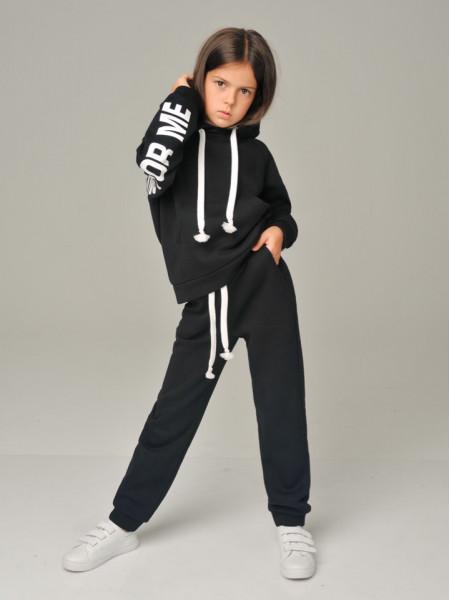 Детский теплый спортивный костюм с надписью и капюшоном