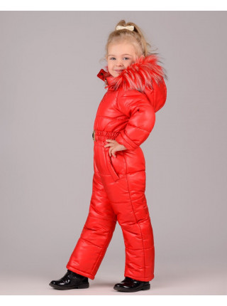 Зимовий дитячий комбінезон із капюшоном для дівчинки