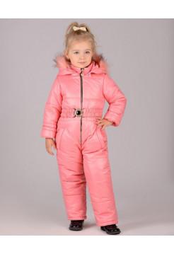 Зимний детский комбинезон с капюшоном для девочки