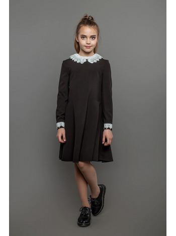 Красивое школьное платье коричневое с белым воротником