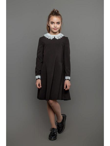 Красиве шкільне плаття коричневе з білим коміром