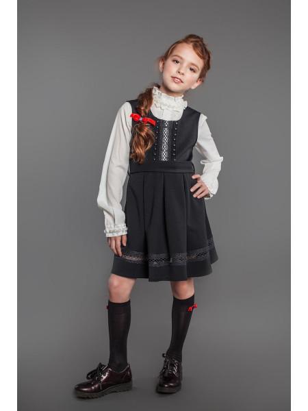 Модный школьный сарафан с юбкой в складку