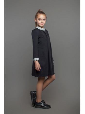 Модное школьное платье с воротником и манжетами