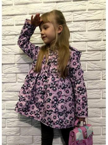 Детская легкая курточка в цветочек для девочки