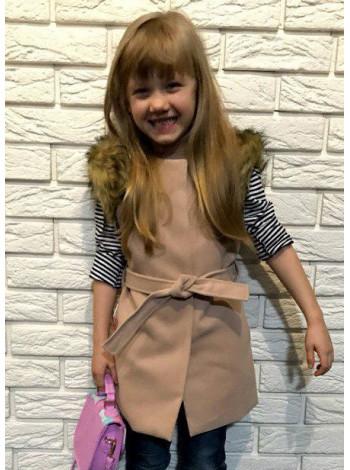 Кашемировая жилетка с мехом для девочки