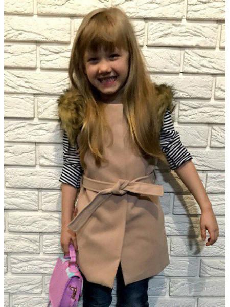 Кашемірова жилетка з хутром для дівчинки