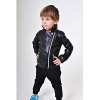 Модная кожаная куртка косуха детская для мальчика