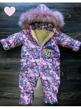 Суцільний зимовий комбінезон для дітей
