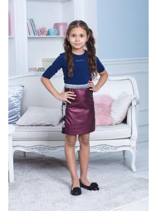 Детская кожаная юбка для девочки