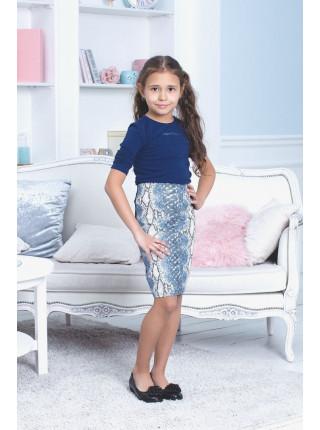 Модная кожаная юбка в принт для девочки