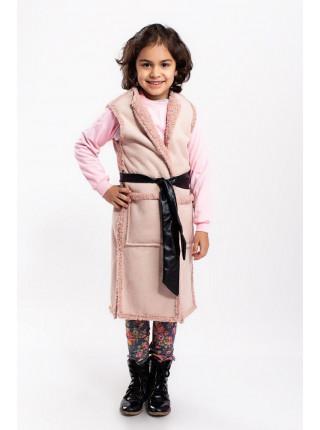 Удлиненная теплая жилетка для девочки