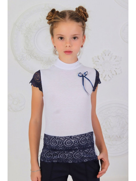 Шкільна біла блузка гольф із коротким рукавом