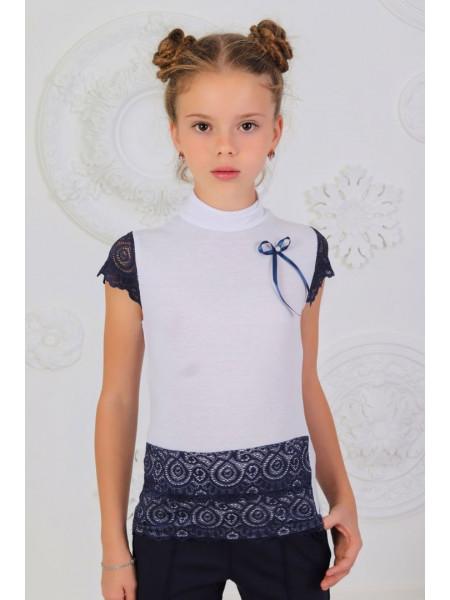 Школьная белая блузка гольф с коротким рукавом