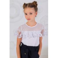 Школьная детская блузка с коротким рукавом