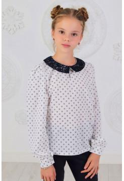 Школьная блузка с длинным рукавом в принт