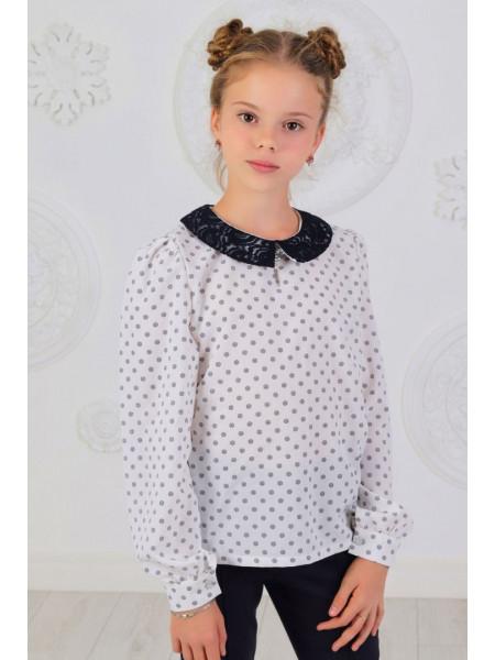 Шкільна блузка із довгим рукавом в принт