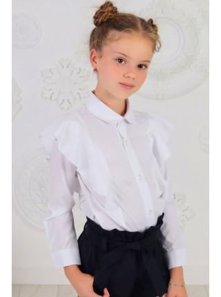 Модна біла блузка із коміром і рукавом