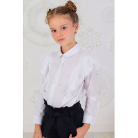 Модная белая блузка с воротником и рукавом