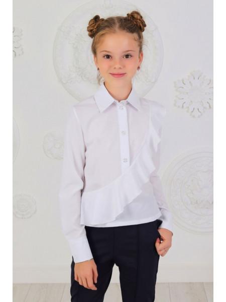 Стильна шкільна блузка із довгим рукавом на манжеті