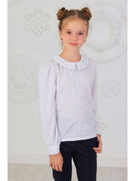 Красива дитяча блузка шкільна із довгим рукавом